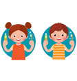 cartoon children girl and boy vector image vector image
