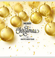 christmas background with tree balls ribbon vector image vector image