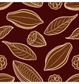 Cocoa beans engraved seamless pattern vector image vector image