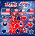 collection of fourth of july items sticker vector image