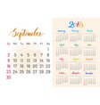 colorful planner 2018 semptember separately vector image vector image
