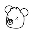 cute brown bear face cartoon character on white vector image
