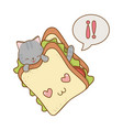 cute little cat with sandwich kawaii character vector image