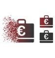 dissolved pixel halftone euro case icon vector image
