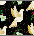 dove of peace seamless christmas pattern vector image vector image