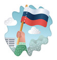 flag of russia with human hand vector image vector image
