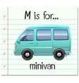 Flashcard letter M is for minivan vector image vector image