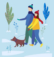 girl and boy walking a dog in winter park family vector image