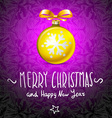 Golden realistic Christmas balls yellow vector image vector image