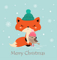 greeting card with fox vector image