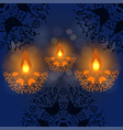 happy diwali background burning candle on dark vector image vector image