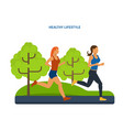 healthy lifestyle athletics jogging on street vector image vector image