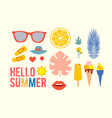 hello summer vintage season collection for vector image vector image