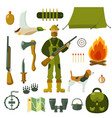 hunting set objects vector image vector image