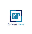 initial letter gp logo template design vector image