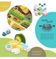 isometric agriculture colorful template vector image vector image