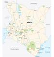 kenya road and national park map vector image vector image
