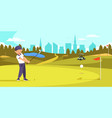 male golfer lining up tee shot on golf course vector image vector image
