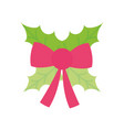 merry christmas celebration red ribbon bow leaves vector image vector image