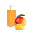 pack mango juice with drinking straw vector image vector image