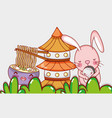 rabbit and japanese food vector image vector image