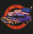 retro muscle car vintage colorful label vector image vector image