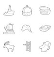 scandinavia icons set outline style vector image vector image
