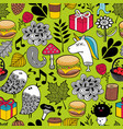seamless pattern with cute unicorns and forest vector image vector image
