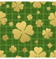 Seamless pattern with golden clover leaf St vector image