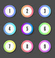set round color numeric badges or buttons vector image