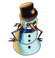 snow man with hat or color vector image vector image