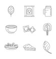 spinach leaves vegetables icons set outline style vector image