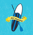 stand up paddle board and paddle in flat vector image