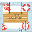 Summer Card with Navigation Wheel vector image