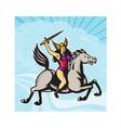 Valkyrie Amazon Warrior Riding Horse vector image vector image