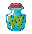 W magic bottle Letter in bottle for laboratory and vector image vector image