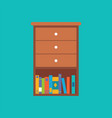 wooden drawer with book shelf flat design vector image