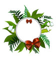 wreath of snowdrops and different green leaves vector image vector image