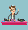 young caucasian dj mixing music on turntables vector image vector image