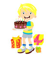 children birthday boy with gift vector image