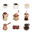 Coffee Icons with White Background Graphic vector image