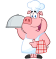 Happy Pig Chef Holding A Platter vector image