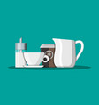coffee on saucer milk jug sugar dispenser vector image