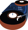 Music Event poster with Vinyl playing gramophone vector image