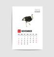 2016 November calendar Ostrich polygon vector image vector image