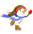 a big snowman is dancing and jumping vector image vector image