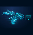 abstract silhouette a wireframe motocross rider vector image