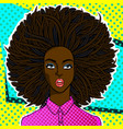 african american woman face in pop art style vector image vector image
