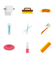 bathroom things icons set flat style vector image vector image
