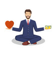 businessman found his balance with love and money vector image vector image